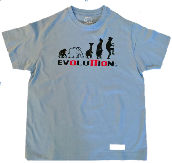"Kinder T-Shirt ""Evolution"" in hellblau"