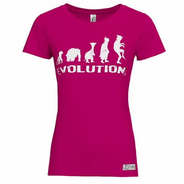 T-Shirt Evolution Damen by Otto Waalkes schwarz und pink